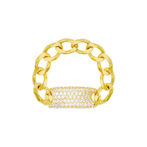Gold / 6 Pavé Chain ID Link Ring - Adina's Jewels