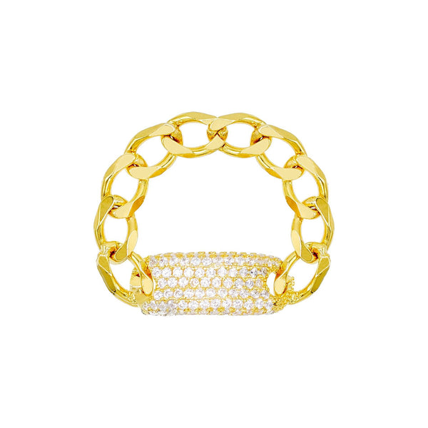 Pavé Chain ID Link Ring