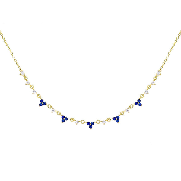 Sapphire Blue Hanging Cluster Necklace - Adina's Jewels