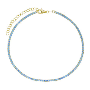 Pastel Tennis Anklet Turquoise - Adina's Jewels