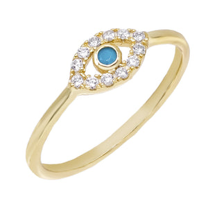 Turquoise / 8 Encrusted Evil Eye Ring - Adina's Jewels