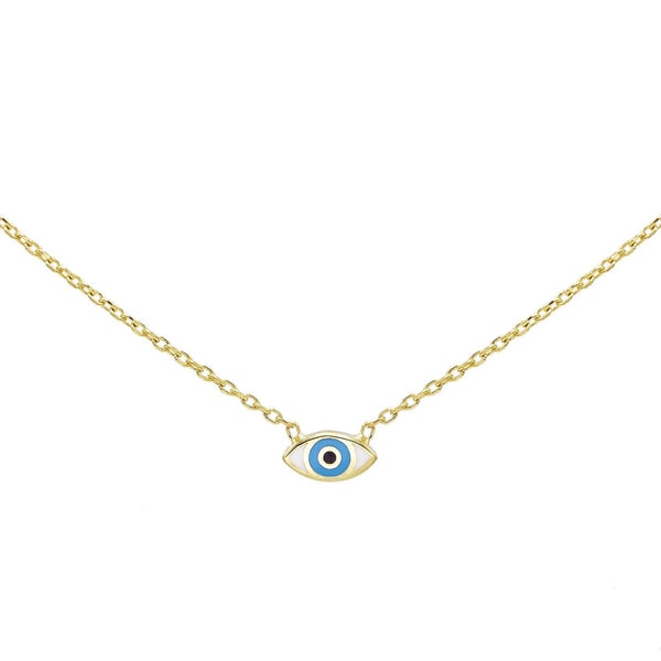 Turquoise Enamel Eye Necklace - Adina's Jewels