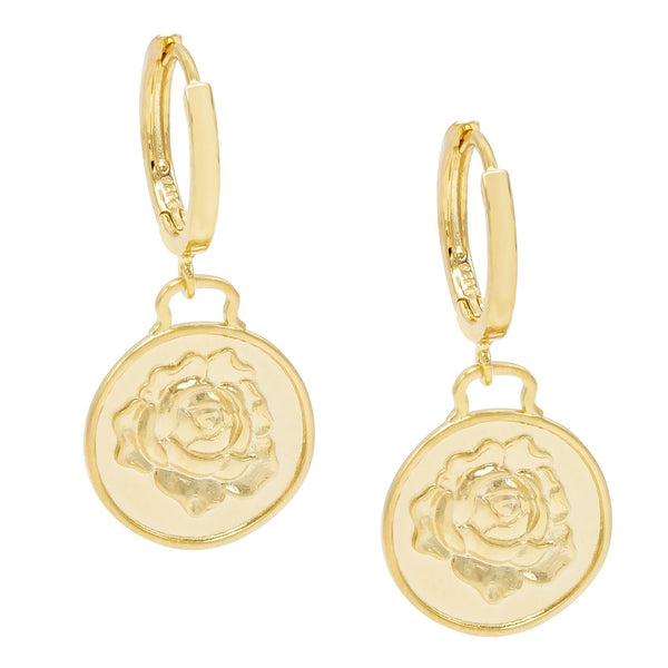 Gold Rose Coin Huggie Earring - Adina's Jewels