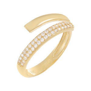CZ Pavé/Solid Wrap Ring 14K 14K Gold / 6 - Adina's Jewels