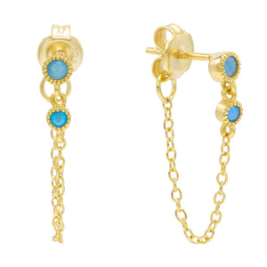 Turquoise Turquoise Chain Stud Earring - Adina's Jewels