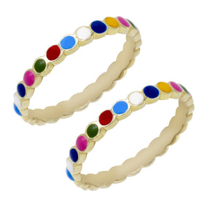 Rainbow/ Single / 8 Multi-Color Enamel Ring - Adina's Jewels