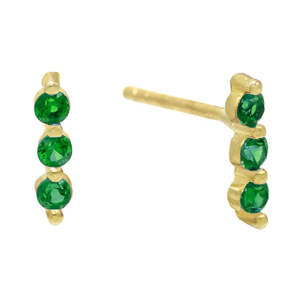 Emerald Green Triple Bezel Stud Earring - Adina's Jewels