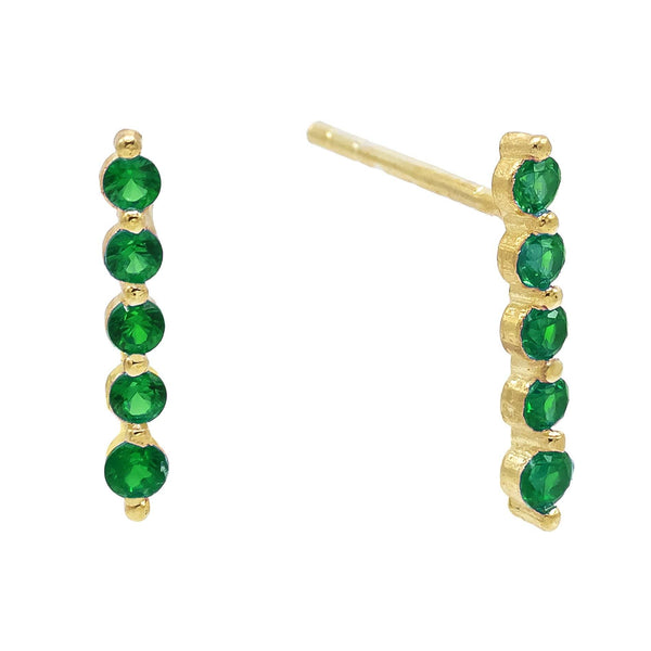 Emerald Green Long Bezel Stud Earring - Adina's Jewels