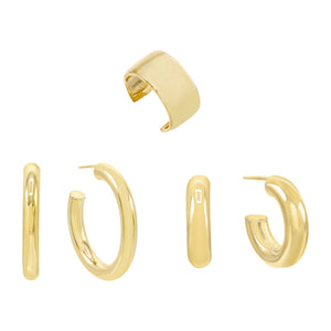 Gold Solid Earring Combo Set - Adina's Jewels