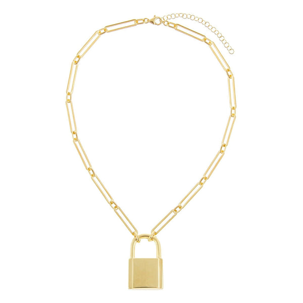 Engraved XL Open Link Lock Necklace - Adina's Jewels