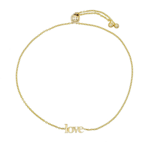14K Gold Love Lowercase Bracelet 14K - Adina's Jewels
