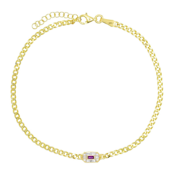 Magenta Baguette Stone Anklet - Adina's Jewels