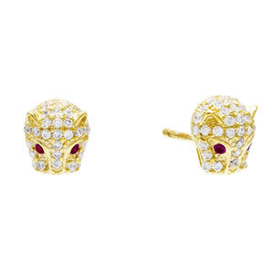 Gold Panther Stone Stud Earring - Adina's Jewels