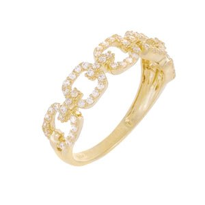 CZ Pavé Box Link Ring 14K 14K Gold / 6 - Adina's Jewels