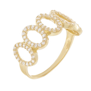 14K Gold / 7 CZ Pavé Oval Link Ring 14K - Adina's Jewels
