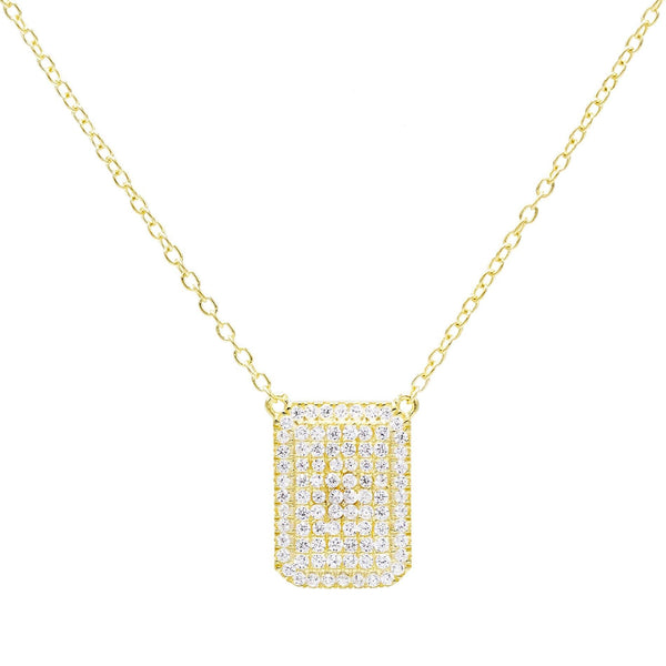 Gold Pavé Dog Tag Necklace - Adina's Jewels