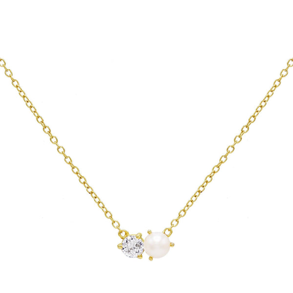 Pearl White Pearl CZ Necklace - Adina's Jewels