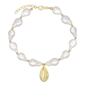 Pearl White Pearl Shell Anklet - Adina's Jewels