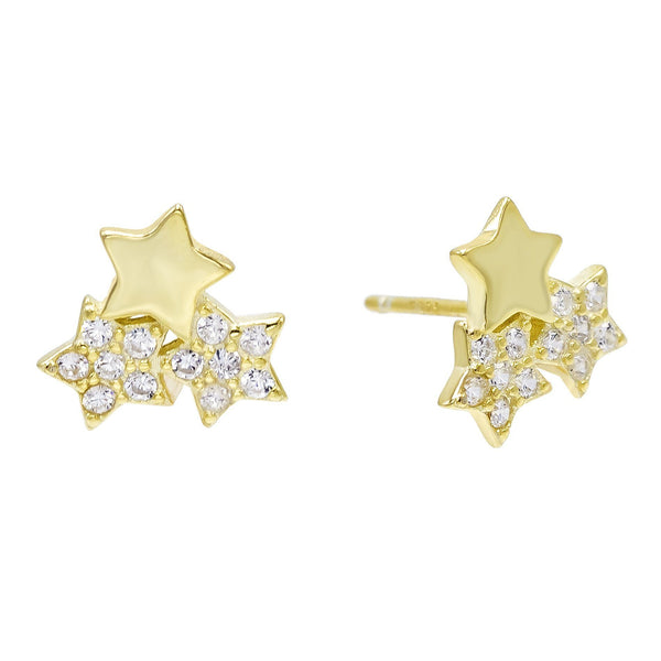 Gold Triple Stars Stud Earring - Adina's Jewels