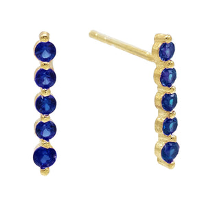 Sapphire Blue Long Bezel Stud Earring - Adina's Jewels