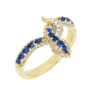 Colored Serpent Ring Sapphire Blue / 8 - Adina's Jewels