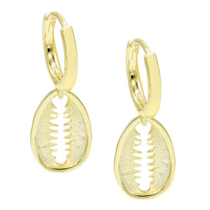Flat Shell Huggie Earring Gold - Adina's Jewels