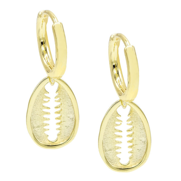 Gold Flat Shell Huggie Earring - Adina's Jewels