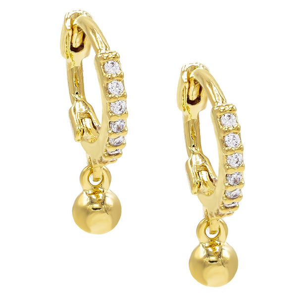 Gold Dangle Huggie Earring - Adina's Jewels