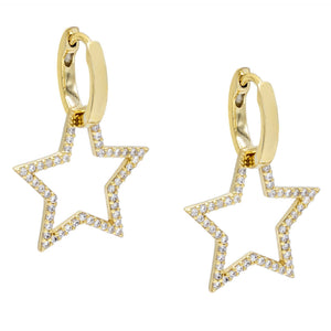 Open Pavé Star Huggie Earring Gold - Adina's Jewels