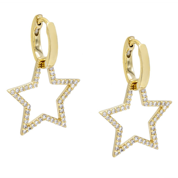 Gold Open Pavé Star Huggie Earring - Adina's Jewels