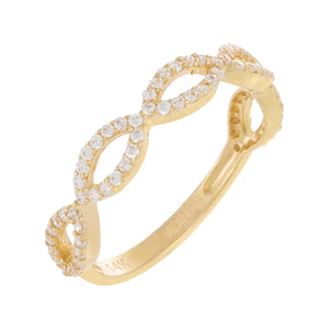 CZ Pavé Open Link Ring 14K 14K Gold / 6 - Adina's Jewels