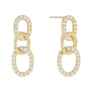 CZ Pavé Link Drop Stud Earring 14K 14K Gold / Pair - Adina's Jewels