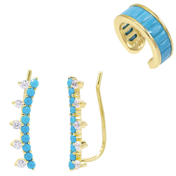 Turquoise Ear Climber x Ear Cuff Combo Set
