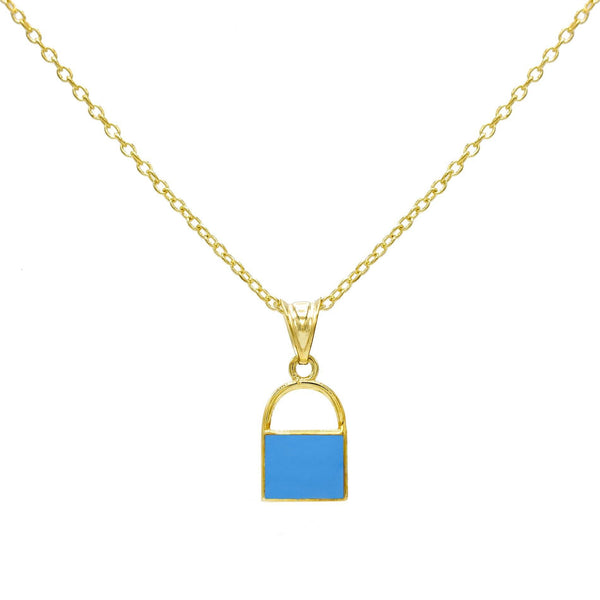 Turquoise Enamel Lock Necklace - Adina's Jewels