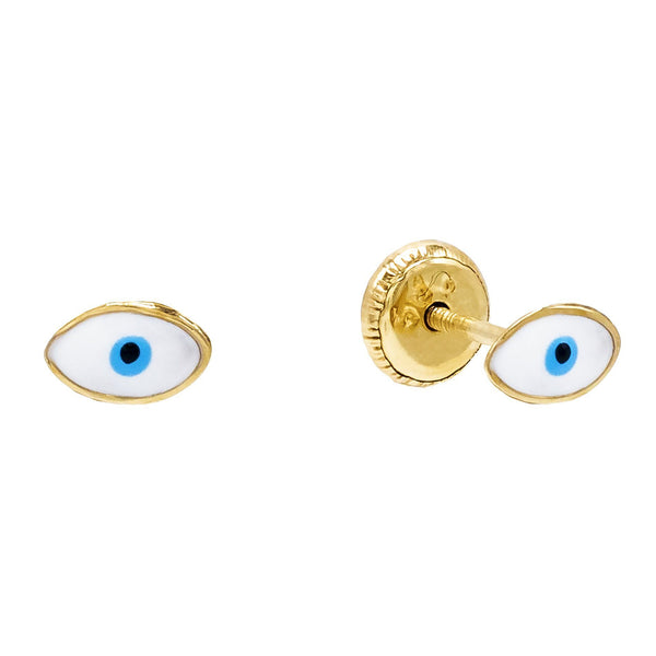 Aqua Blue Tiny Enamel Eye Stud Earring 14K - Adina's Jewels