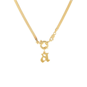 Gold / A Gothic Initial Herringbone Necklace - Adina's Jewels