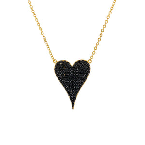 Onyx Onyx CZ Heart Necklace - Adina's Jewels