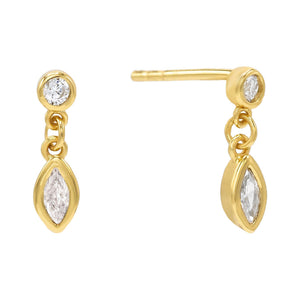 Gold Dangling Bezel Stud Earring - Adina's Jewels