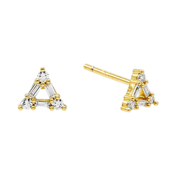 Gold Triangle Baguette Stud Earring - Adina's Jewels