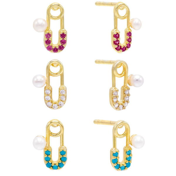 Combo Pearl Safety Pin Stud Earring Set - Adina's Jewels