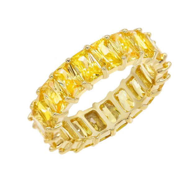 Baguette Eternity Ring Topaz Yellow / 9 - Adina's Jewels