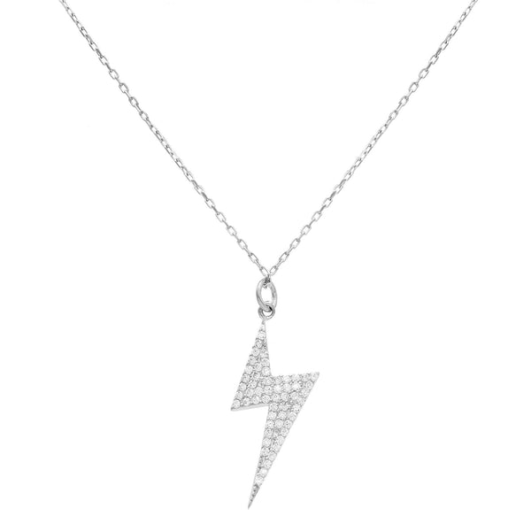Silver CZ Bolt Necklace - Adina's Jewels