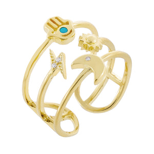 Gold Hamsa X Celestial Ring - Adina's Jewels