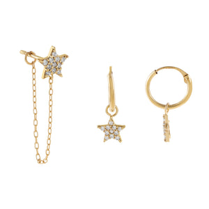 14K Gold CZ Star Earring Combo Set 14K - Adina's Jewels