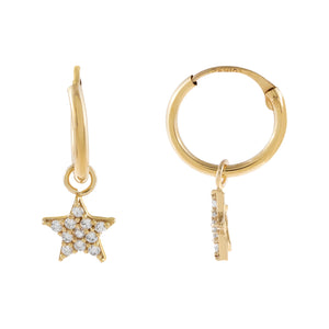 14K Gold CZ Star Hoop Earring 14K - Adina's Jewels