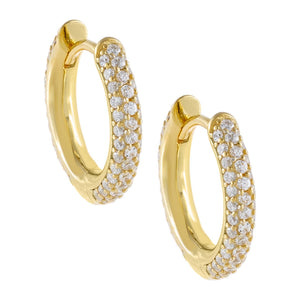 Pavé Huggie Earring Gold - Adina's Jewels