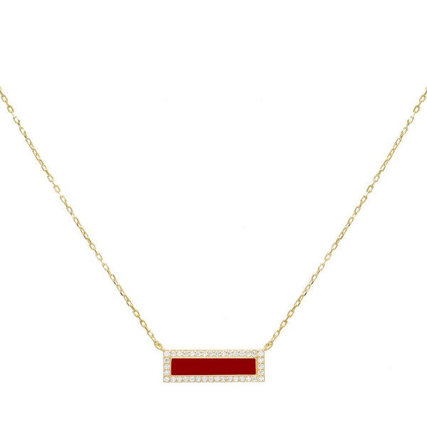 Ruby Red Enamel Bar Necklace - Adina's Jewels