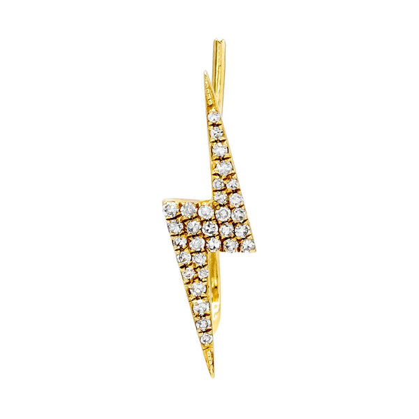 Diamond Lightning Bolt Ear Climber 14K - Adina's Jewels