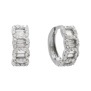 CZ Chain Huggie Earring Silver - Adina's Jewels