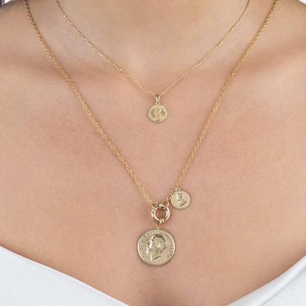 Vintage Double Coin Toggle Necklace 14K